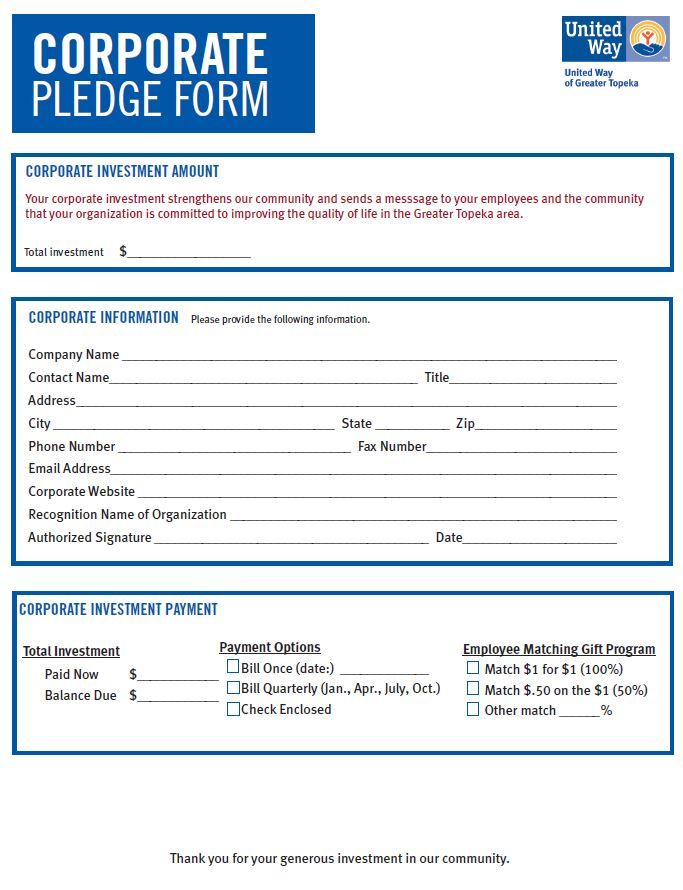 Corporate Pledge Form Screenshot  United Way Of Greater Topeka